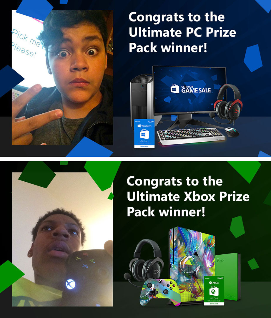 Microsoft Ultimate Game Face Prize Winners
